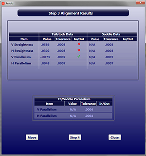 Lathe9 Step3Alignment Summary Screen
