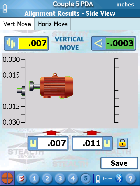 S-1395 Couple5 PDA Software - Vertical Move Screen showing motor aligned