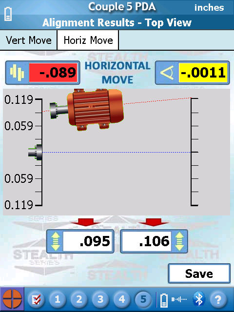 S-1395 Couple5 PDA Software - Horizontal Move Screen showing mislignment and moves to make