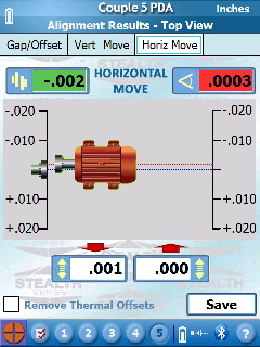 S-1395 Couple5 PDA Software - Horizontal Move Screen showing motor nearly aligned