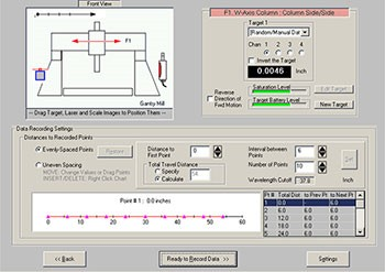 Machine Tool Geometry Software Target/Measurement Setup Screen