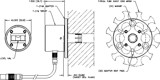 Dimensions of T-219 2-Axis Front Mount Bore Target